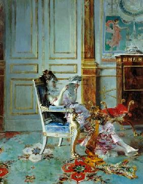 Girl Reading in a Salon
