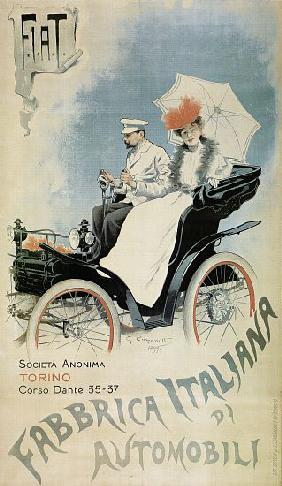 Poster advertising an early 'FIAT' car