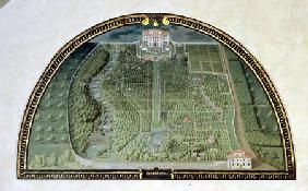 Villa Pratolino (Demidoff) from a series of lunettes depicting views of the Medici villas