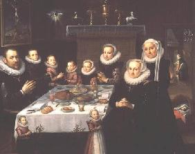 A Portrait of a Family saying Grace Before a Meal, with a Servant Stoking a Fire and a Landscape See