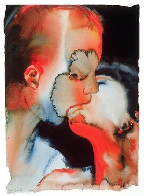Close-up Kiss, 1988 (w/c on paper)