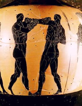 Black-figure Panathenaic amphora depicting a boxing contest, c.336 BC (pottery)