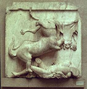 A Centaur triumphing over a Lapith, metope XXVIII from the south side of the Parthenon