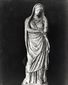 Draped and veiled woman, funeral statue