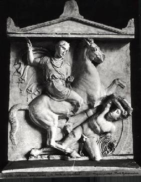 Funerary stele of Dexileos (d.394 BC) depicting him on his horse about to strike at the enemy