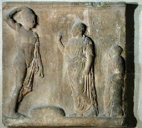 Relief plaque depicting a ceremony of invocation to Theseus