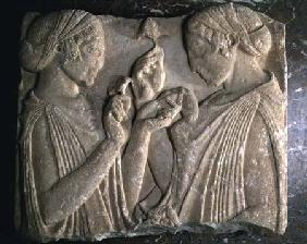 The Stele of Pharsalos depicting the glorifying of the flower, two girls face to face carrying flowe