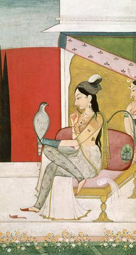 Lady with a Hawk, Pahari Style, Punjab Hills