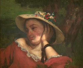 Courbet, Gustave : Woman with Flowers on Her ...