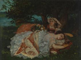 Courbet, Gustave : Young Ladies on the Bank o...