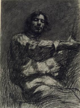 Courbet, Gustave : Young Man Sitting, Study. ...