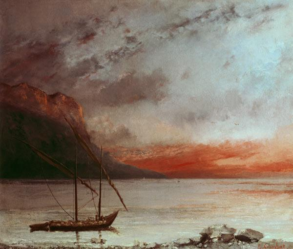 Courbet, Gustave : Sunset at Lake Geneva