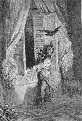 "Illustration for the poem ""The Raven"" by Edgar Allan Poe"
