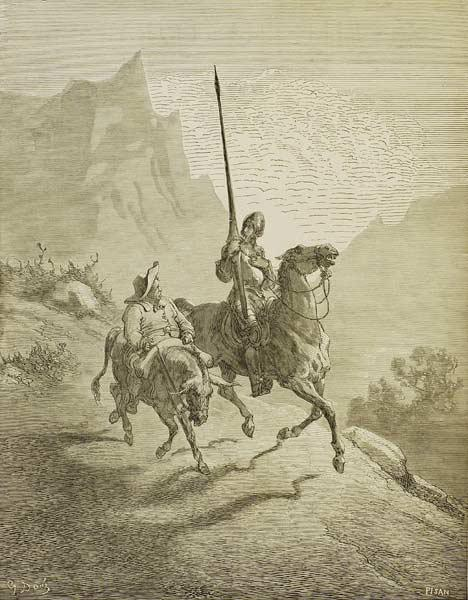 "Illustration to the book ""Don Quixote de la Mancha"" by M. de Cervantes"