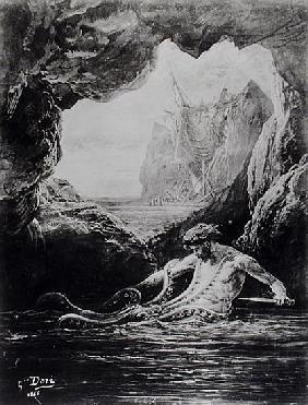 Gilliatt struggles with the giant octopus, illustration from ''Les Travailleurs de la Mer'' by Victo