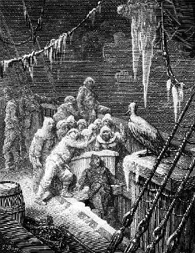 The albatross being fed the sailors on the the ship marooned in the frozen seas of Antartica, scene