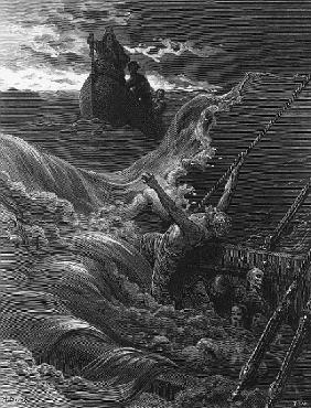 The mariner, as his ship is sinking, sees the boat with the Hermit and Pilot, scene from ''The Rime