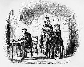 Mrs. Bagnet returns from her expedition, illustration from ''Bleak House'' Charles Dickens (1812-70)