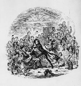 Nicholas astonishes Mr. Squeers and family, illustration from `Nicholas Nickleby'' Charles Dickens (