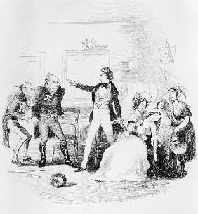 Nicholas congratulates Arthur Gride on his wedding morning, illustration from `Nicholas Nickleby'' C