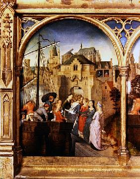 St. Ursula and her companions landing at Cologne, from the Reliquary of St. Ursula, before 1489