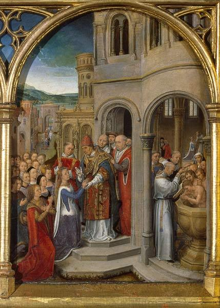 The arrival of St. Ursula and her companions in Rome to meet Pope Cyriacus, from the Reliquary of St