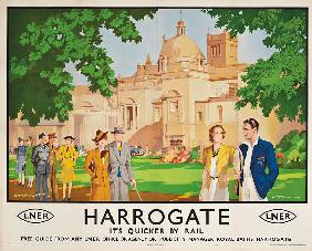 Harrogate, its Quicker by Train', poster advertising rail journeys
