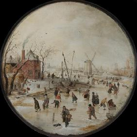 Frozen River with Skaters