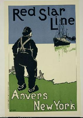Reproduction of a poster advertising 'The Red Star Line, from Anvers to New York'