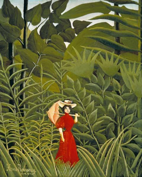 Woman in Red in the Forest