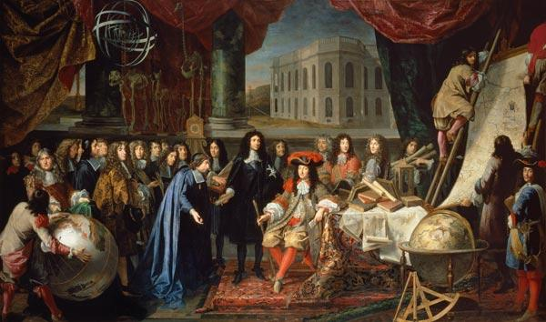 Académie royale des Sciences devant Louis XIV