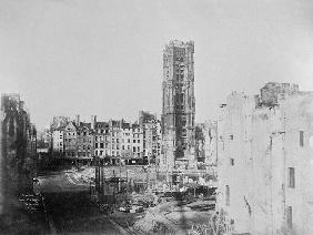 Tour Saint-Jacques la Boucherie (1508-22), Paris, 1853 (b/w photo)