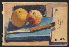 Fruit and knife, c.1930 (pencil & w/c on paper)