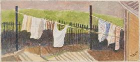 Rounton Road washing lines, c.1930 (pencil & w/c on paper)