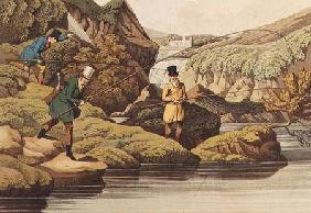 Salmon Fishing, auqatinted by I. CLark, pub. by Thomas McLean