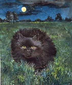 The Cat and the Moon (acrylic on paper)