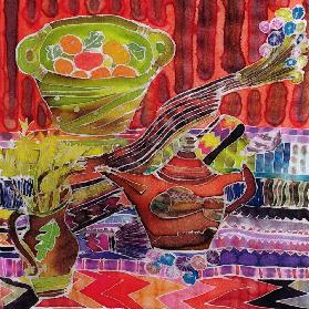 Teapot and Textiles, 2006 (dyes on silk)