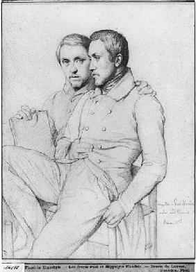 Double portrait of Hippolyte and Paul Flandrin, 1835 (black lead on paper)