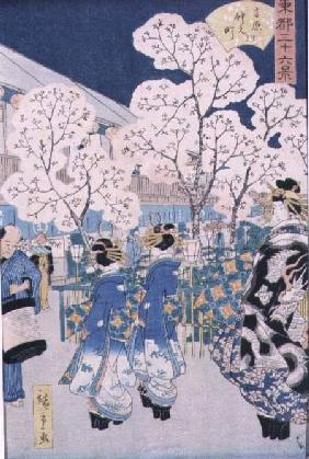 Cherry Blossoms at Asakura (woodblock)