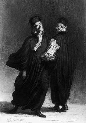 Two Lawyers, c.1862 (watercolour & pencil on paper)