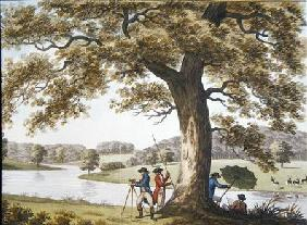 Humphrey Repton surveying with a Theodolite (colour litho)