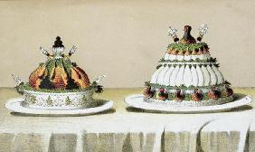Design for the presentation of chicken stuffed with foie gras and pheasant breasts cooked in the Ber