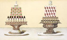 Design for the presentation of desserts, illustration from a Hungarian cookery book on French cookin