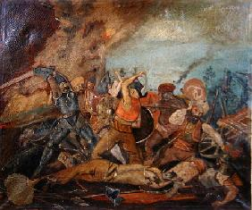 Ottoman and Hungarian Soldiers Fighting in the Seventeenth Century (oil on canvas)