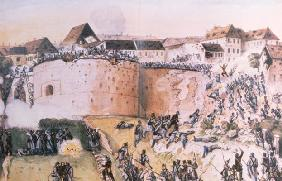 The Hungarian Revolution of 1848: Austrian troops assault the Buda Castle on 21st May 1849 (w/c on p