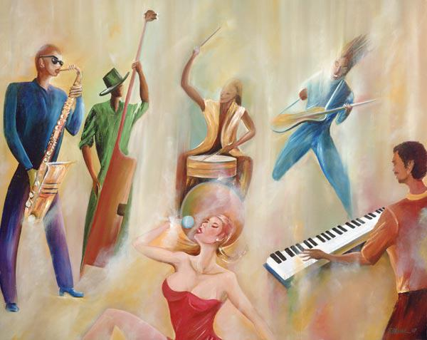 On Stage, 2008 (oil on canvas)