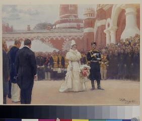 Nicholas II receiving rural district elders on May 18, 1896 in the yard of Petrovsky Palace in Mosco