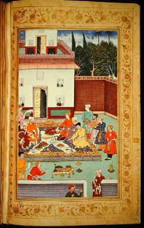 OR 3714 f.260v Mughal Emperor Feasting in a Courtyard, from the Baburnama of Dhanraj