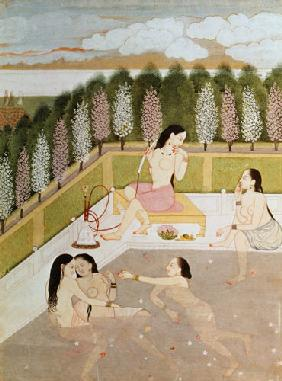 Girls Bathing, Pahari Style, Kangra School, Himachel Pradesh