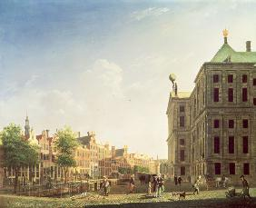 A View along the Nieuwezijds Voorburgwal in Amsterdam showing the back of the Royal Palace